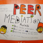 Primary school artwork describing peer mediation and its rules